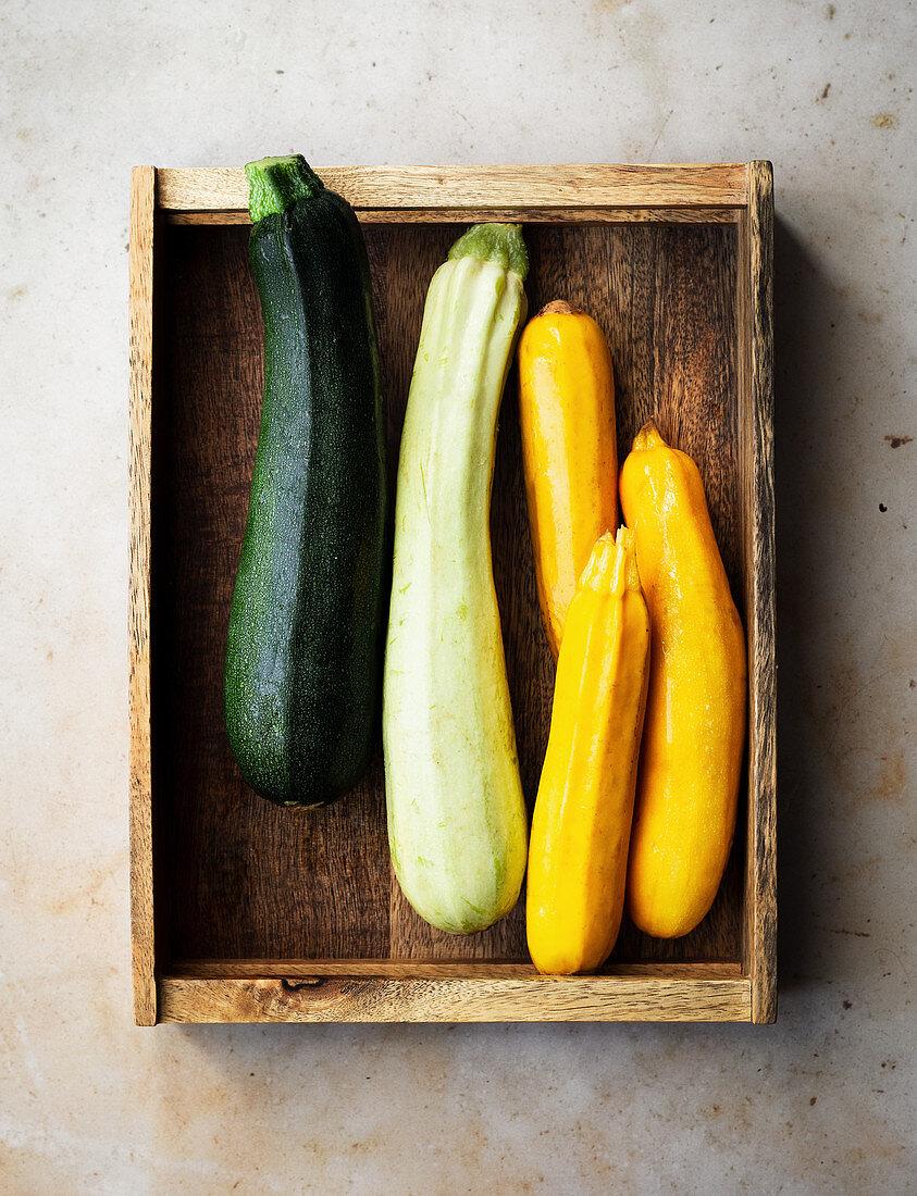 Zucchini variety in green, white and yellow