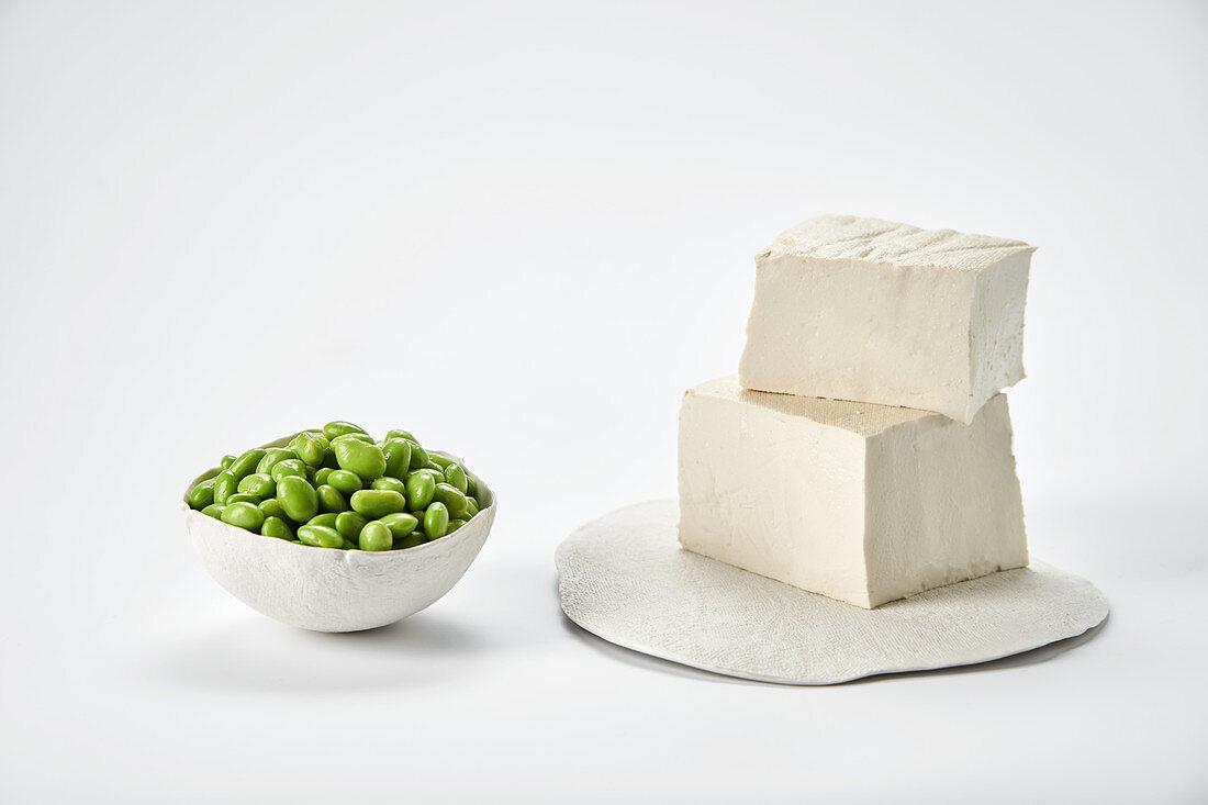 Fresh soya beans and tofu