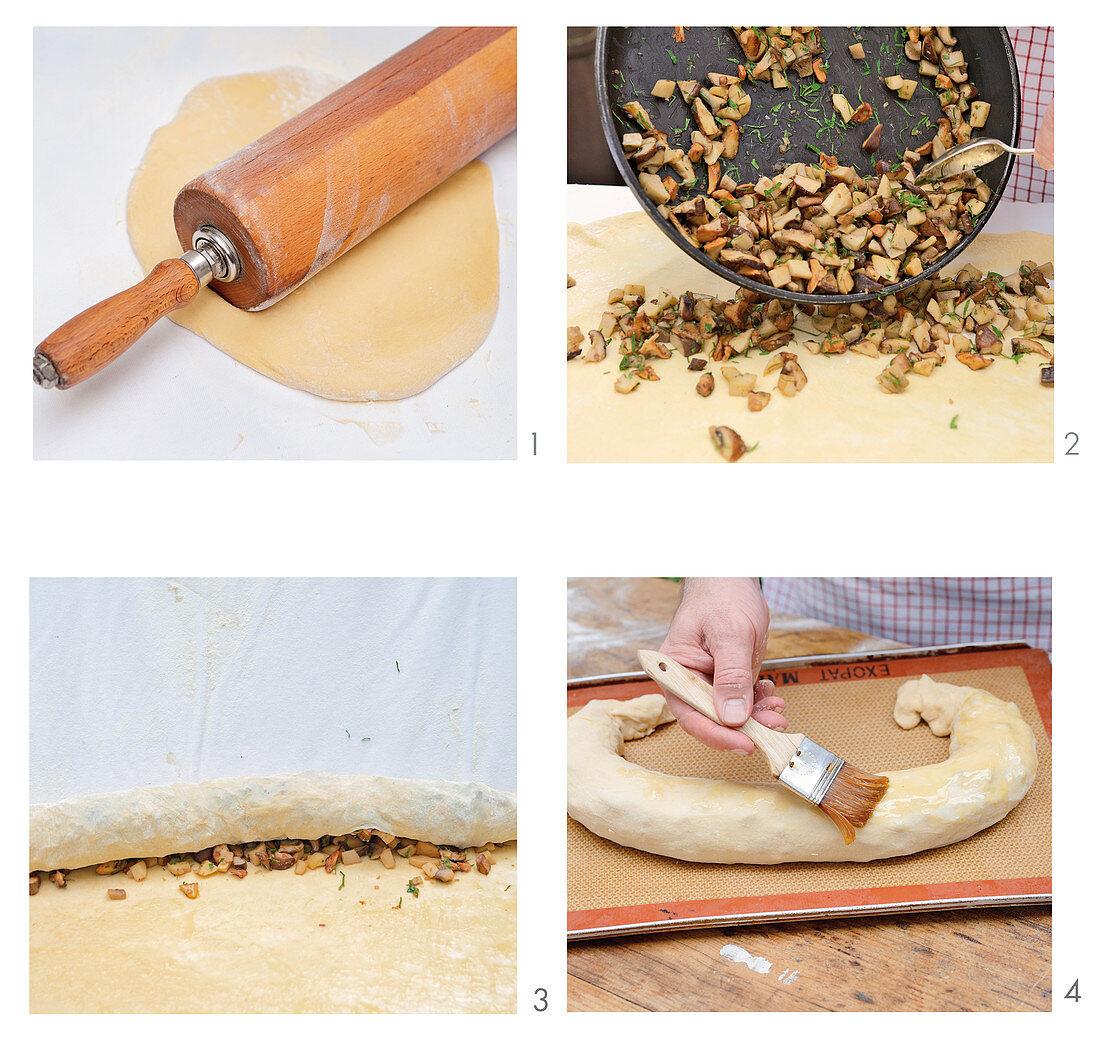 Wild mushrooms strudel being made