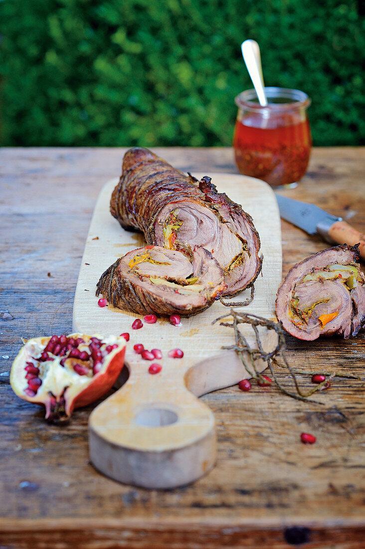 Wild boar roulade with piri-piri sauce
