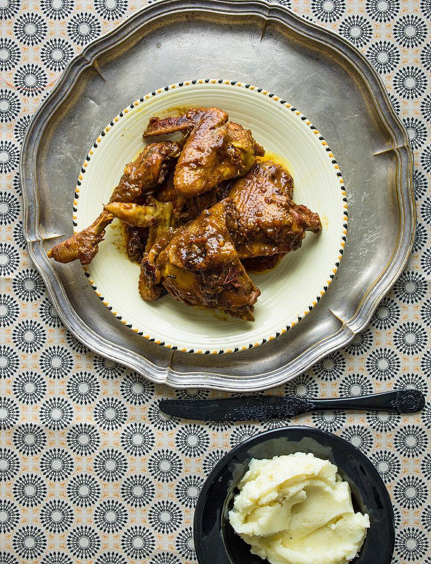 Chicken stew with mash potato