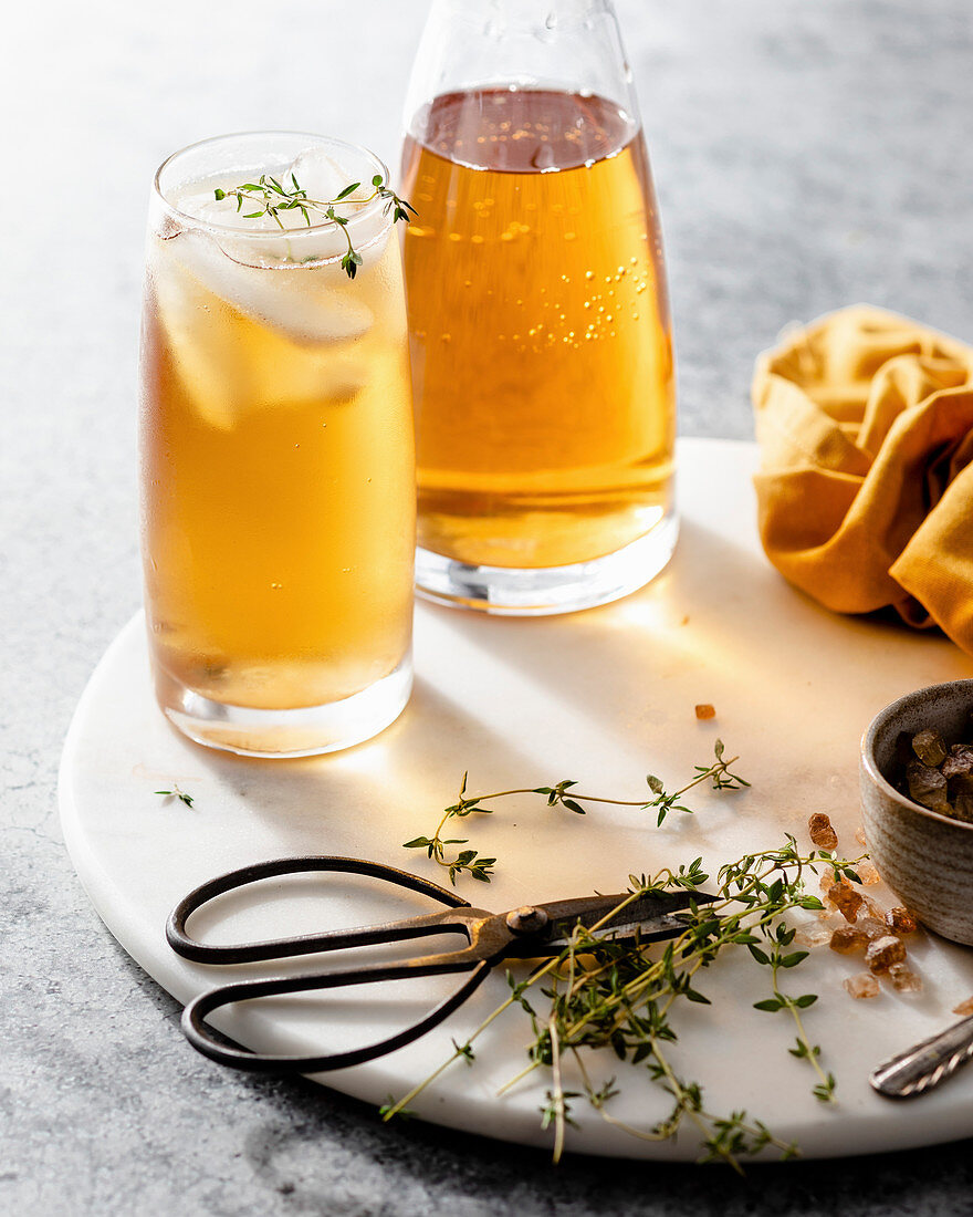 Yellow iced tea with thyme
