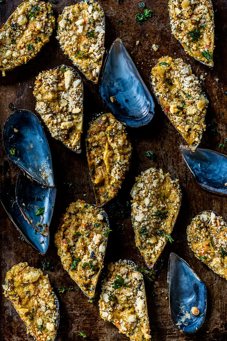 Mussels stuffed with Bechamel Sauce and Herbed Bread Crumbs