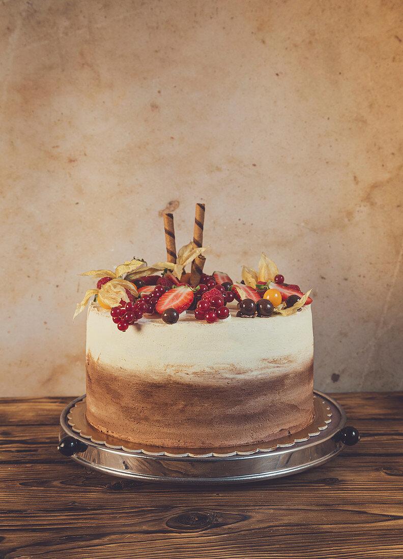 Vanilla and chocolate birthday cake