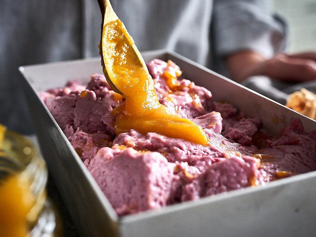 Blueberry ice cream with orange compote