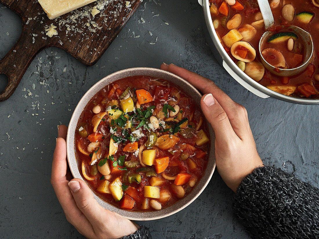 Vegetarian minestrone with orecchiette