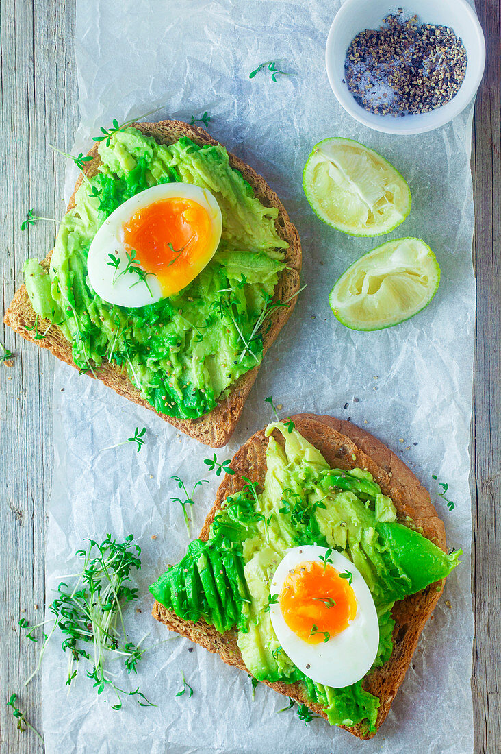 Avocado toast with boiled egg and cress