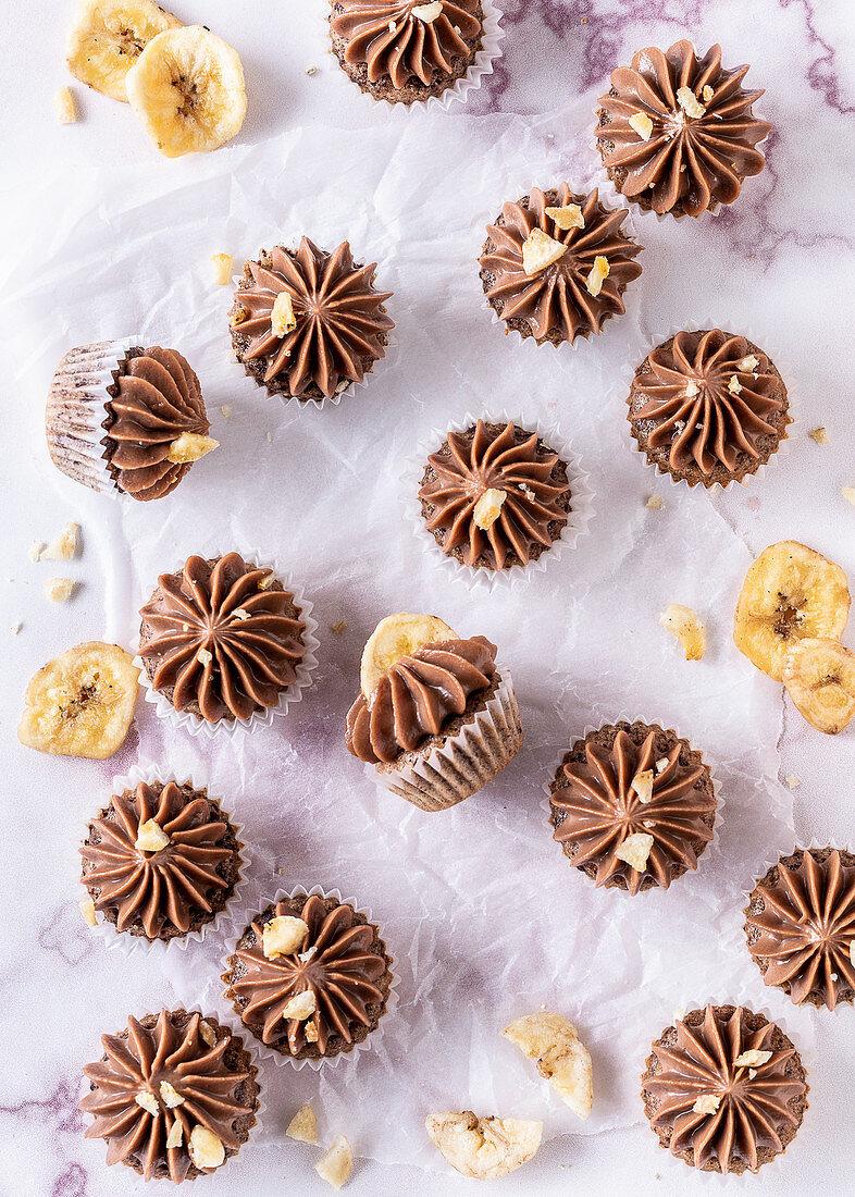 Chocolate Banana Mini Cupcakes
