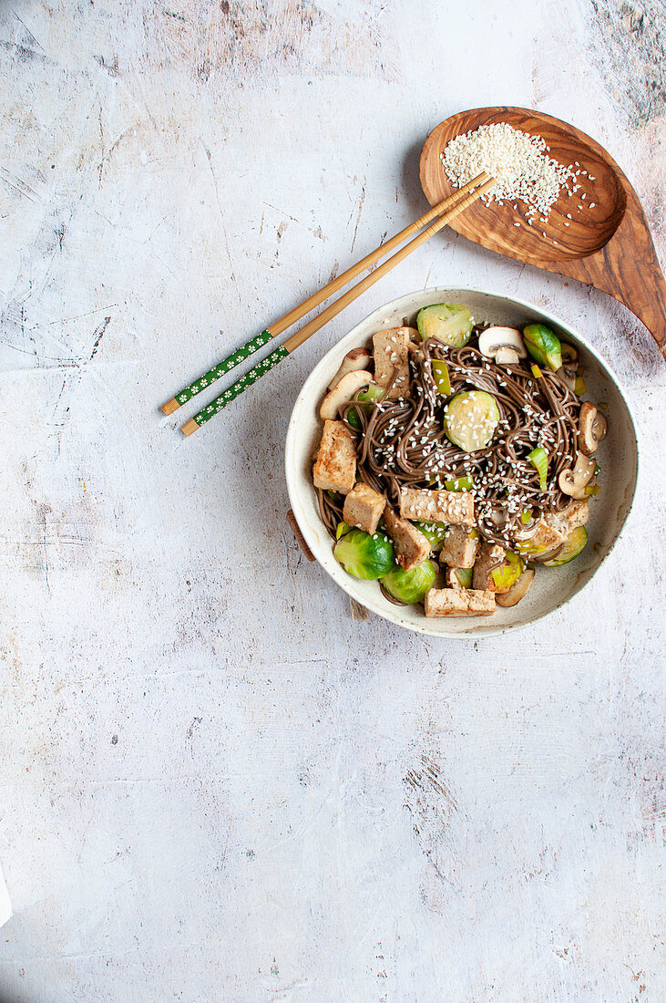 Yakisoba with tofu and brussels sprouts