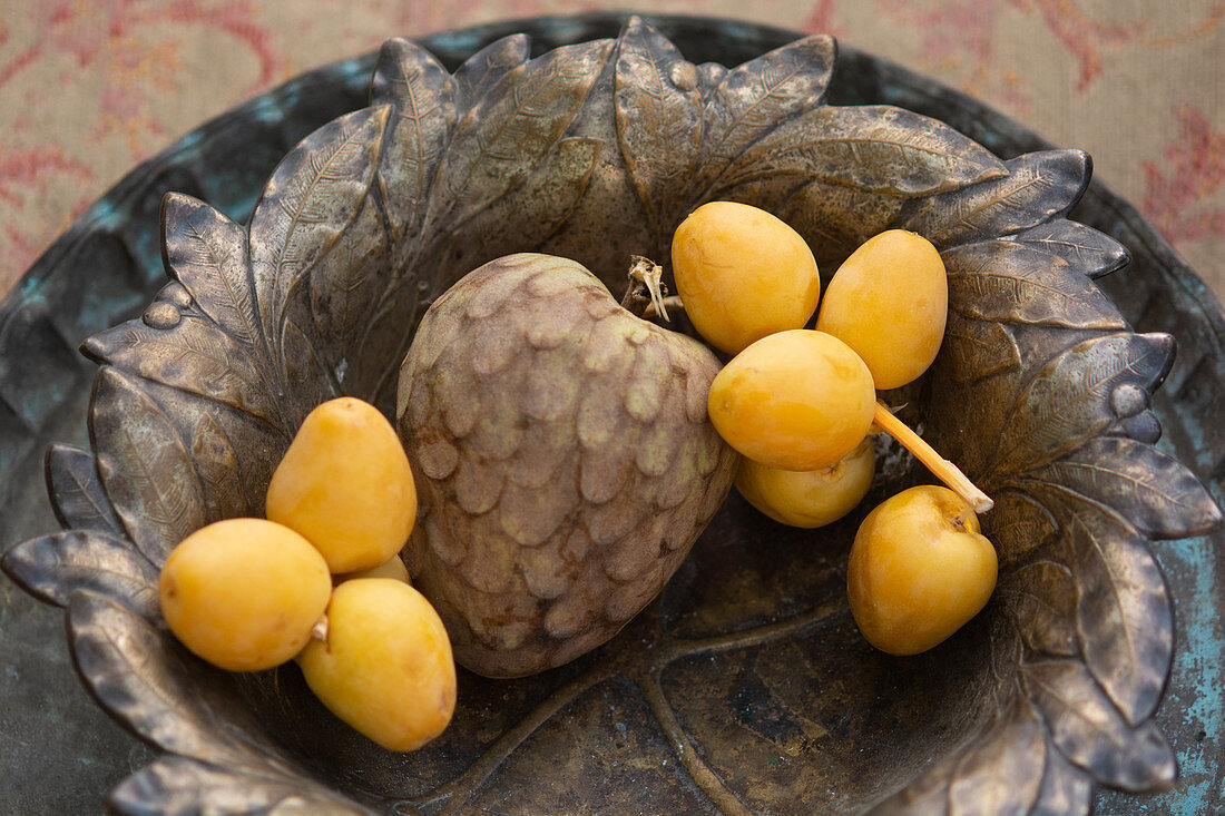 Yellow lychee and custard apple fruit