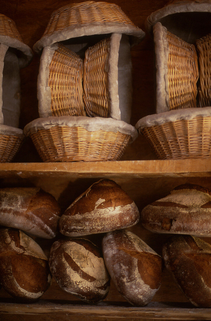 Breads and bread baskets in a bakery