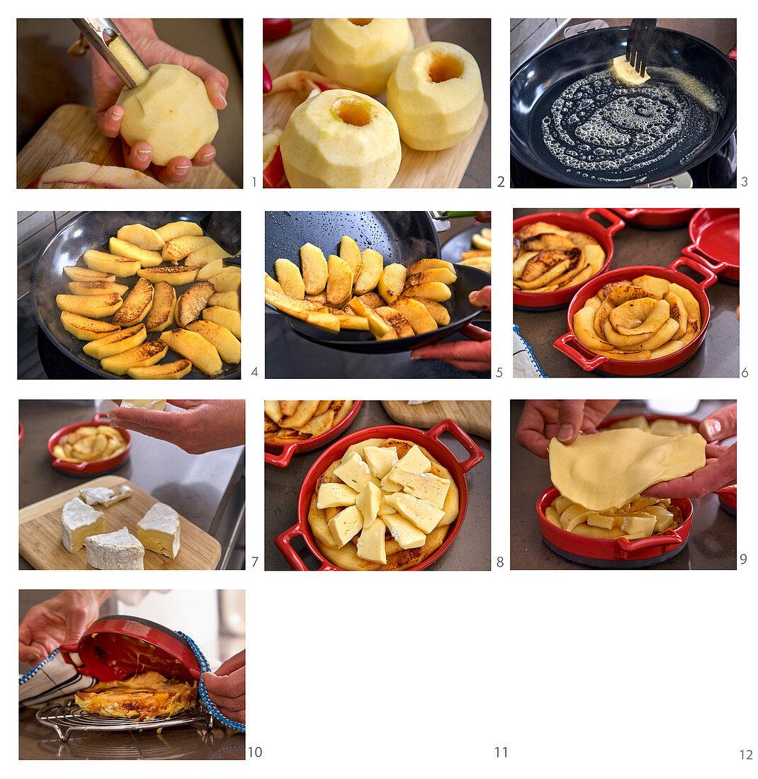Preparing Tarte Tatin with Apple and Camembert