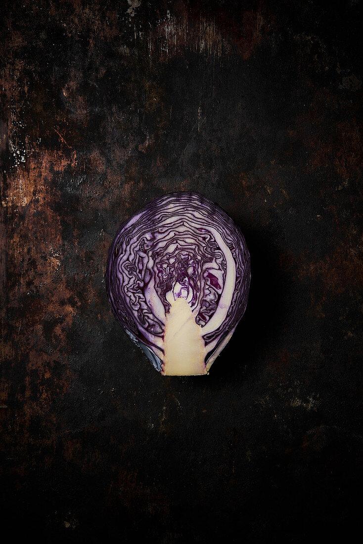 Lilac cabbage cut in half