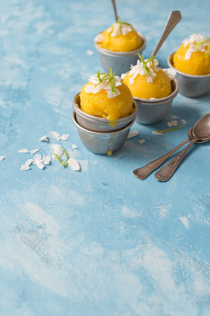 Mango sorbet with coconut and lime