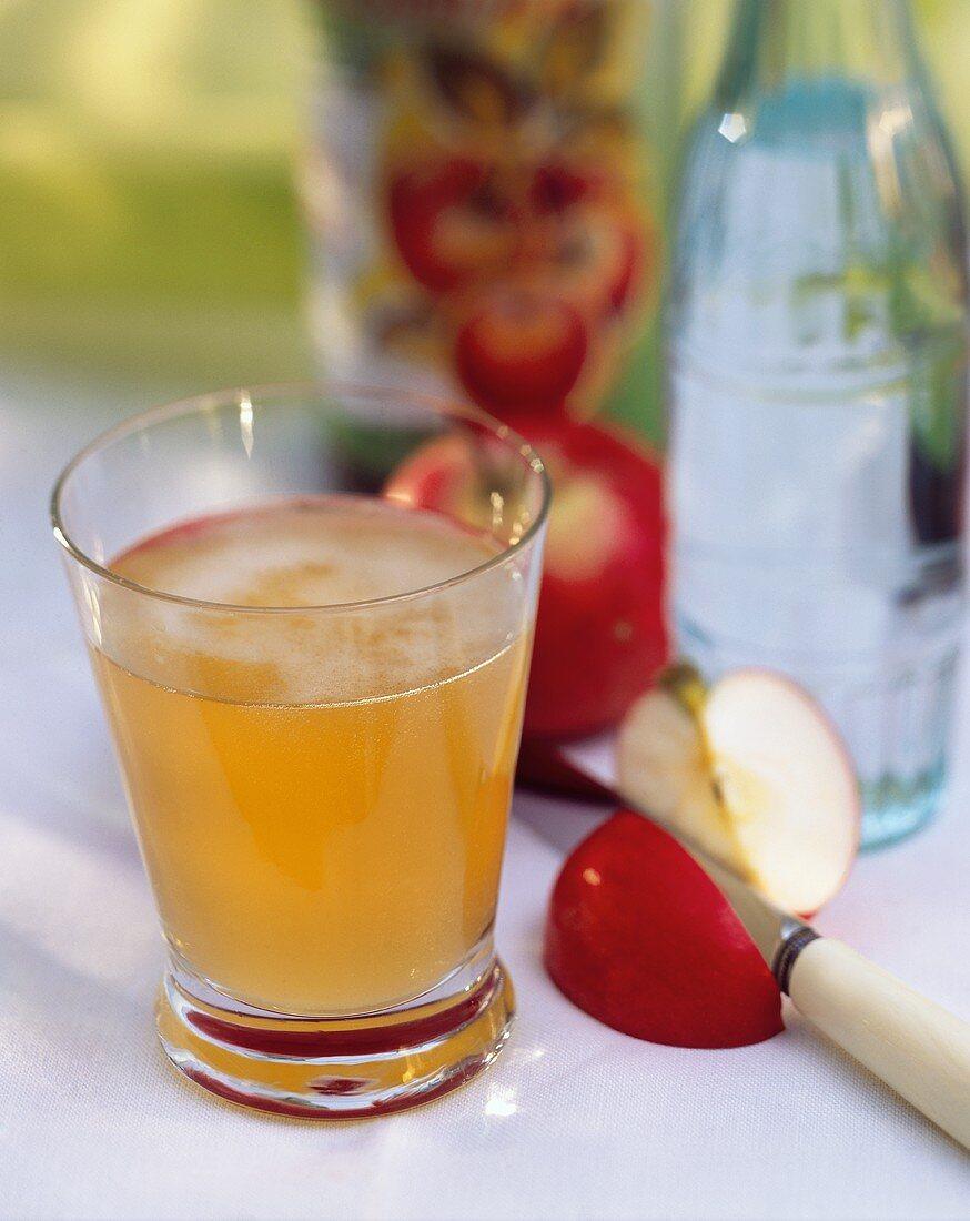 A glass of apple vinegar; décor: apple slice, bottle of water