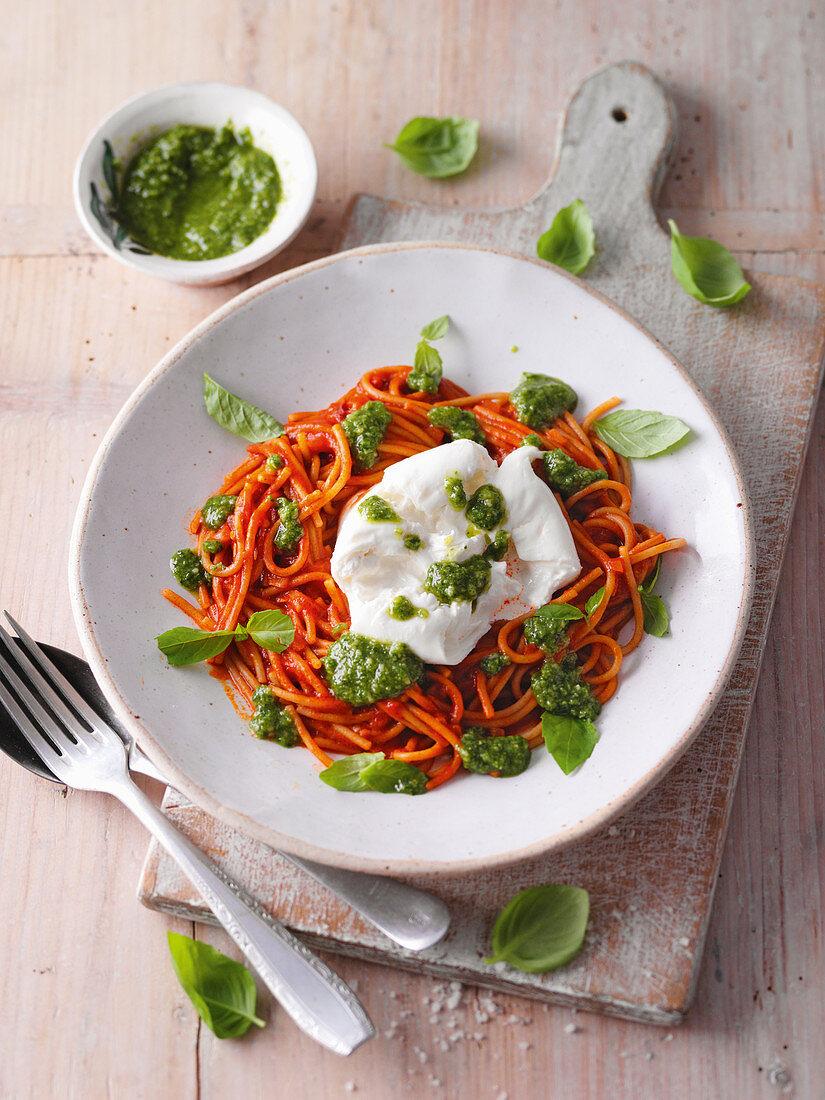 One-pot tomato pasta with burrata and basil pesto