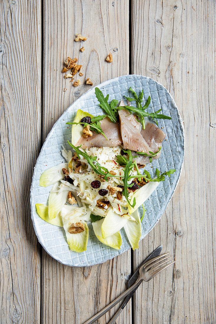 Waldorf-style kohlrabi salad with herring