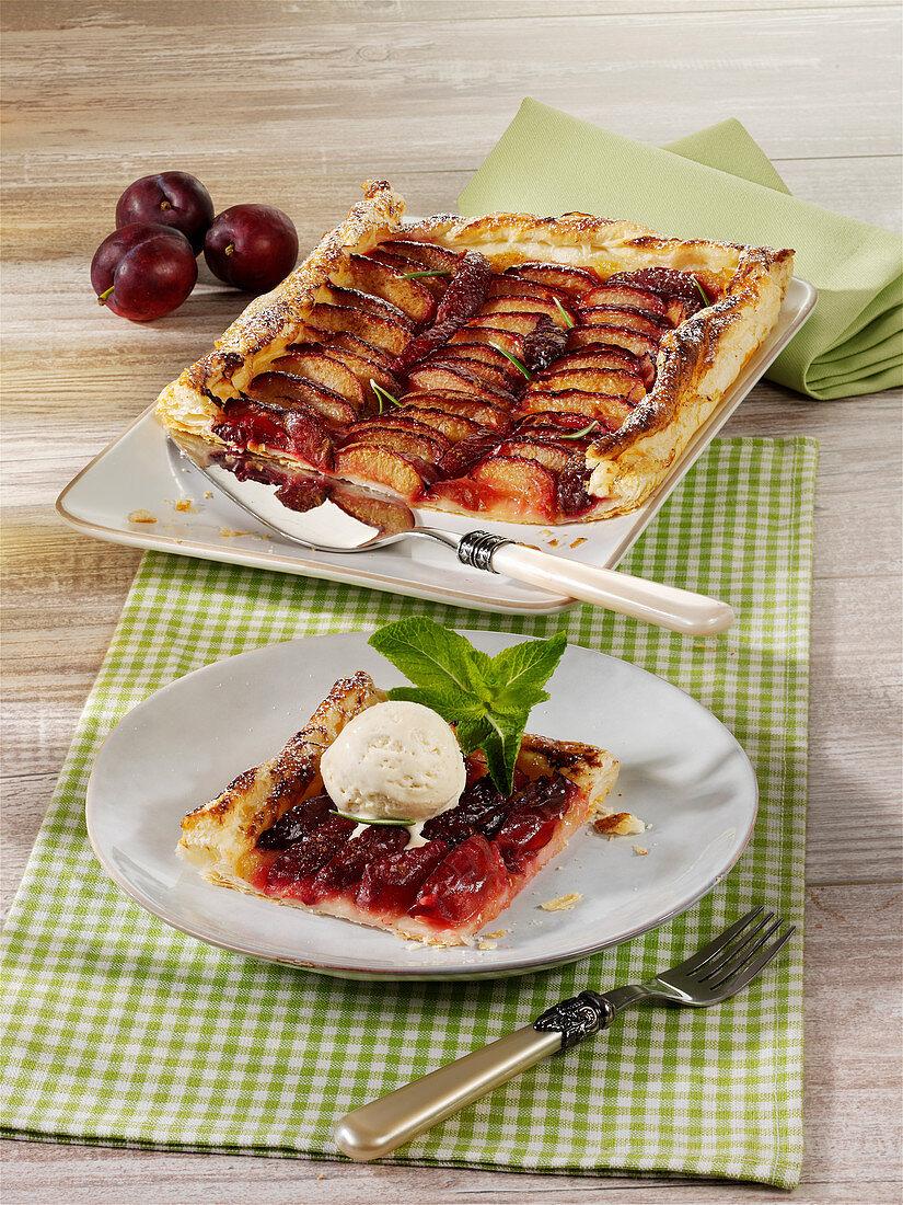 Puff pastry plum cake