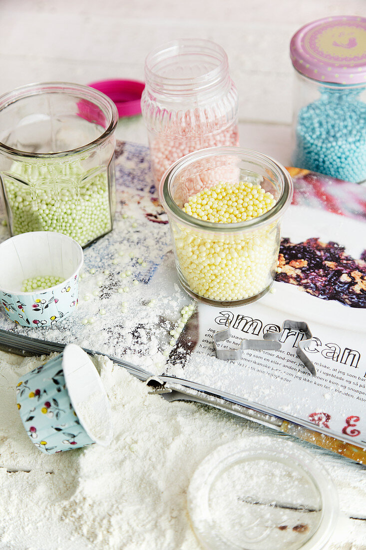 Colourful sugar pearls for decorating
