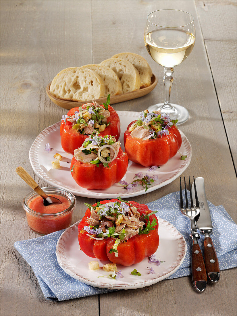 Stuffed beef tomatoes 'Nicoise' with tuna fish