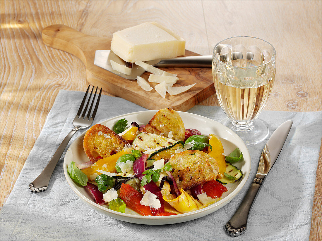 Grilled vegetable salad with ciabatta and parmesan cheese