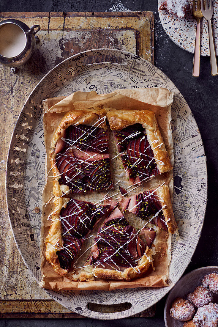 Galette with red wine pears and pistachios