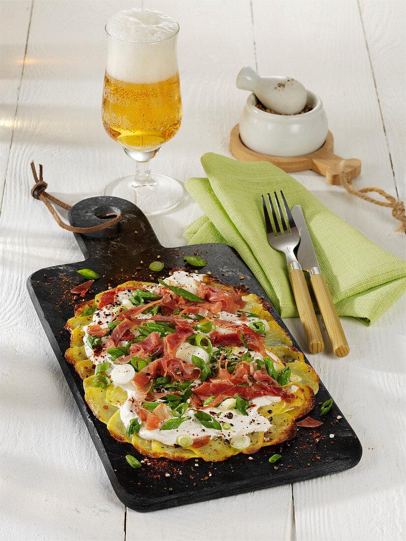 Potato flambé with ham