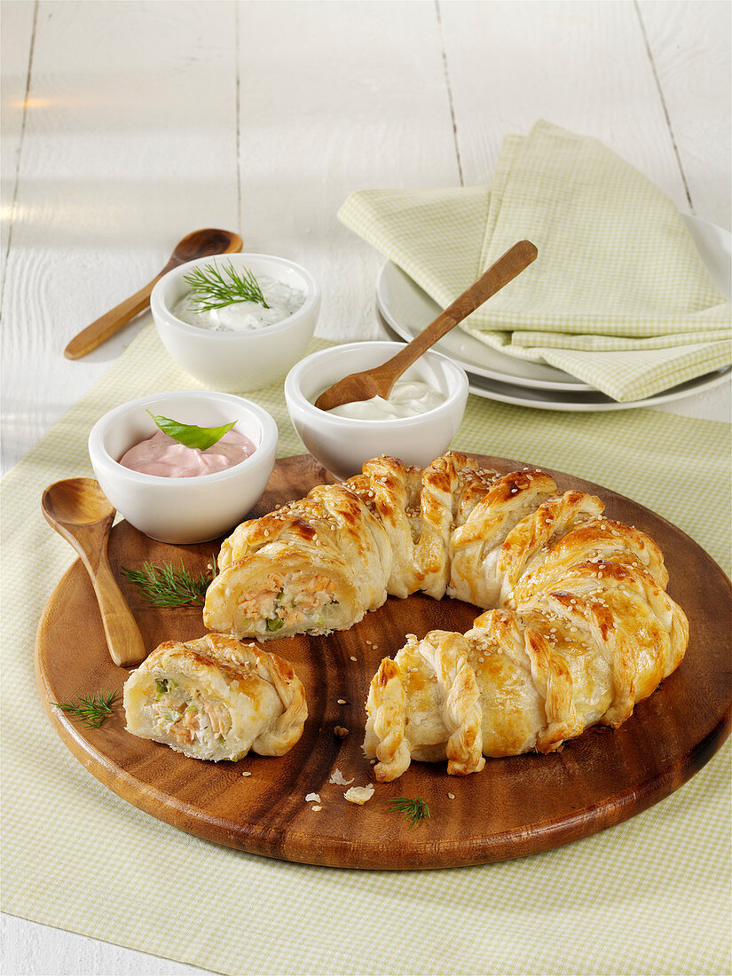 Salmon puff pastry roll
