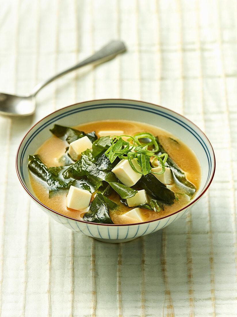 Misoshiru with silken tofu and wakame seaweed