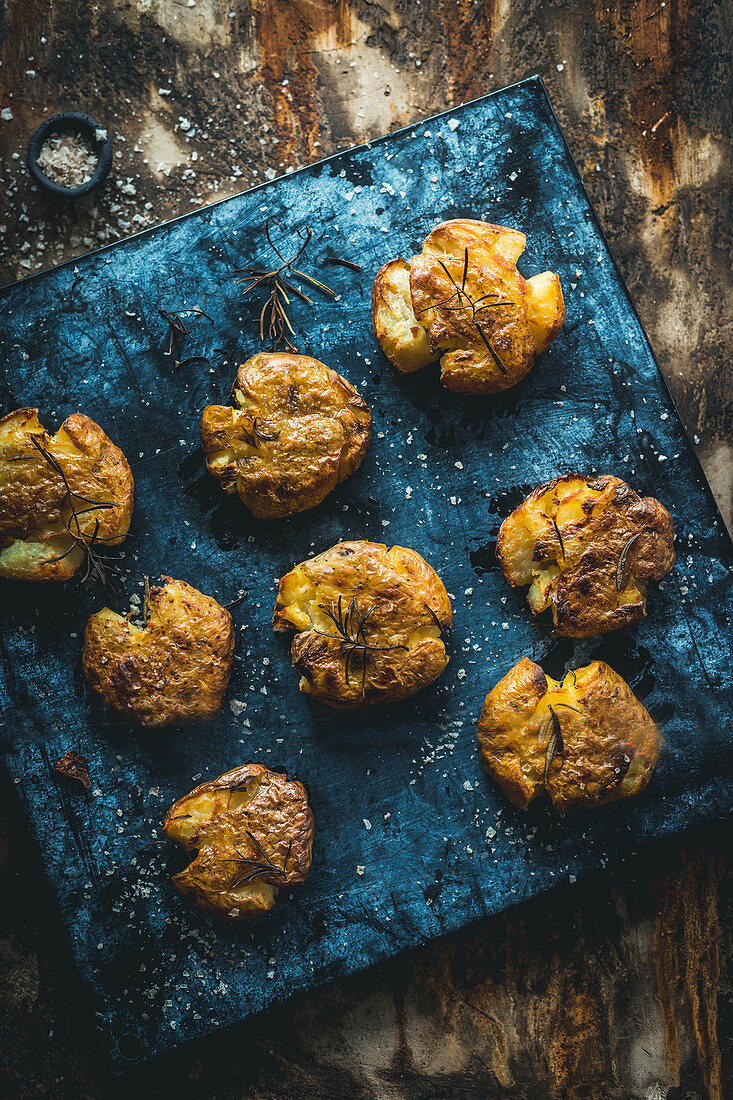 Smashed potatoes with rosemary