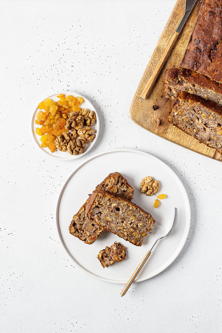 Healthy banana cake with walnuts and dried apricots