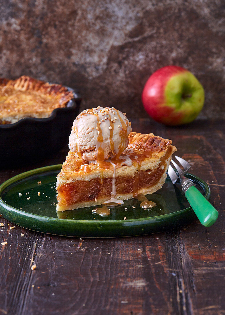 Apple Pie with Tahini Ice Cream and Caramel Sauce