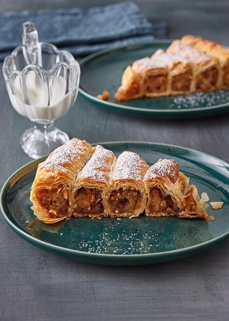 Sweet börek cake with apple