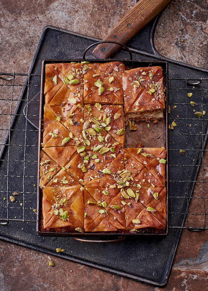 Apple baklava on a baking tray