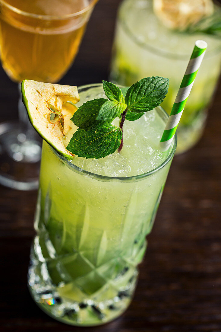 Summer cocktail with apple and fresh mint