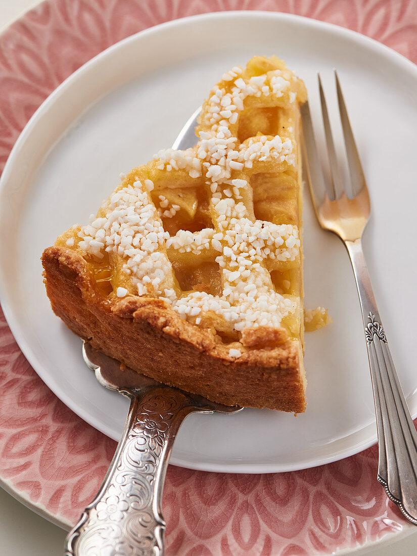 Lattice apple tart with confectionary sugar