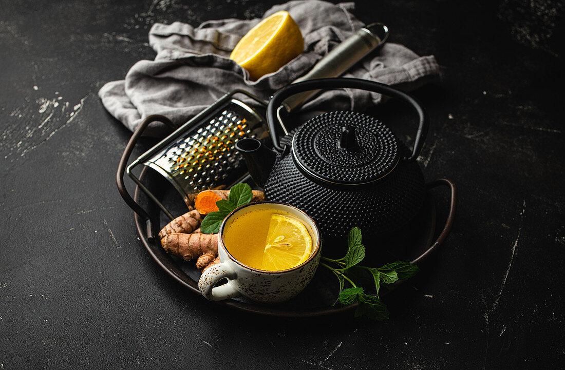 Healthy warm herbal turmeric tea for boosting immune system