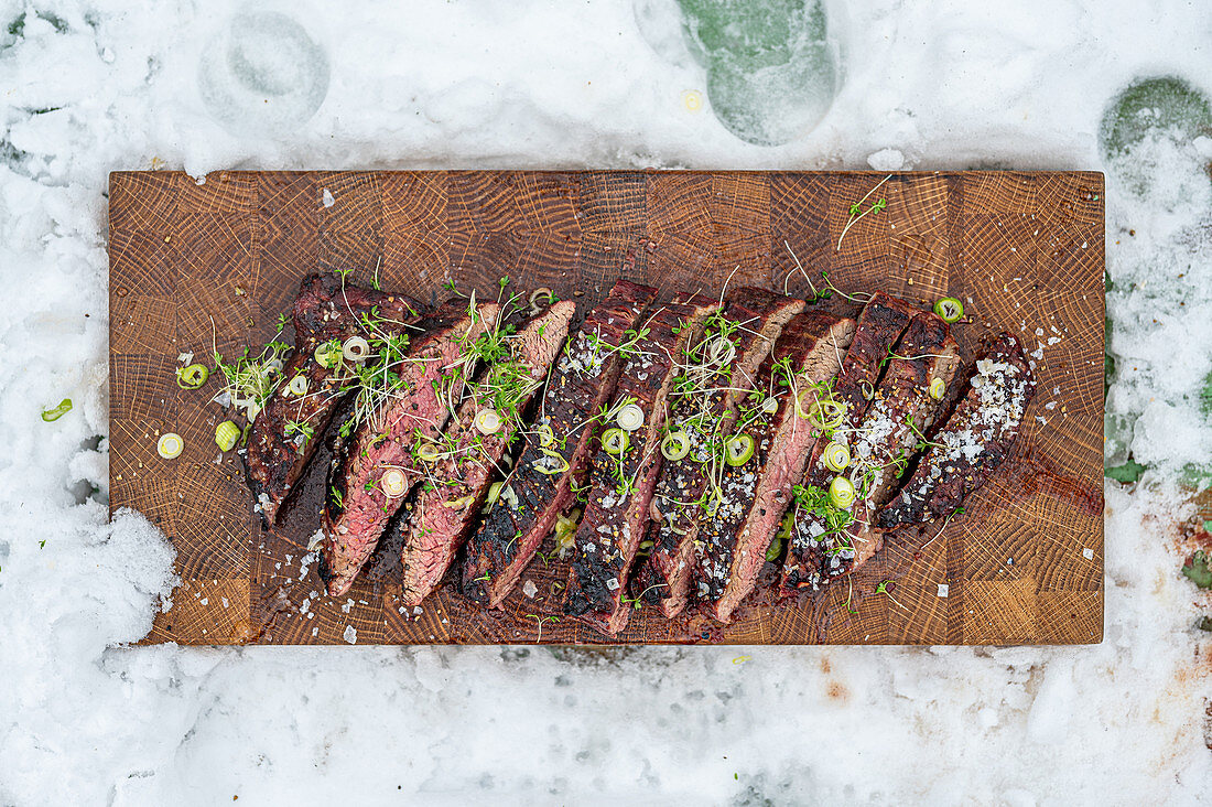 Grilled flank steak with sea salt and cress
