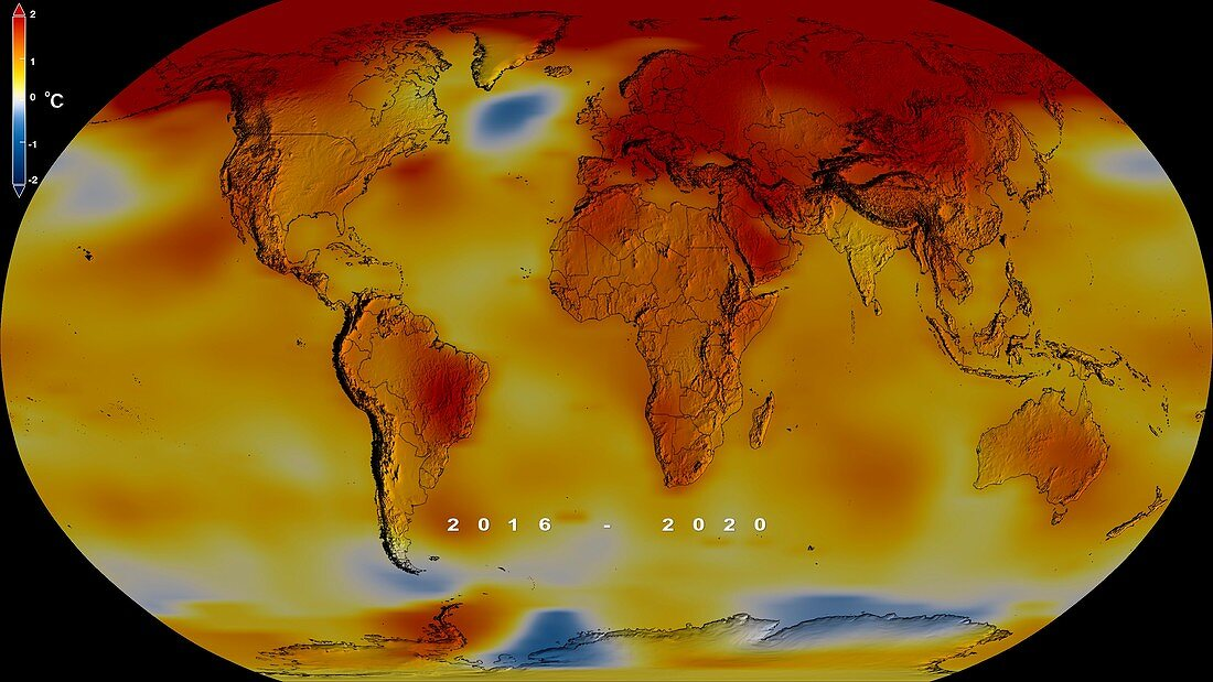 Global temperature anomalies, 2016-2020