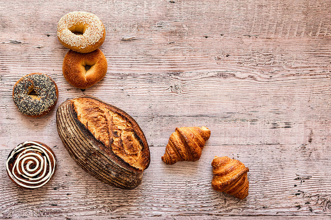 Sourdough, bagels, croissants and sticky bun from farmers market