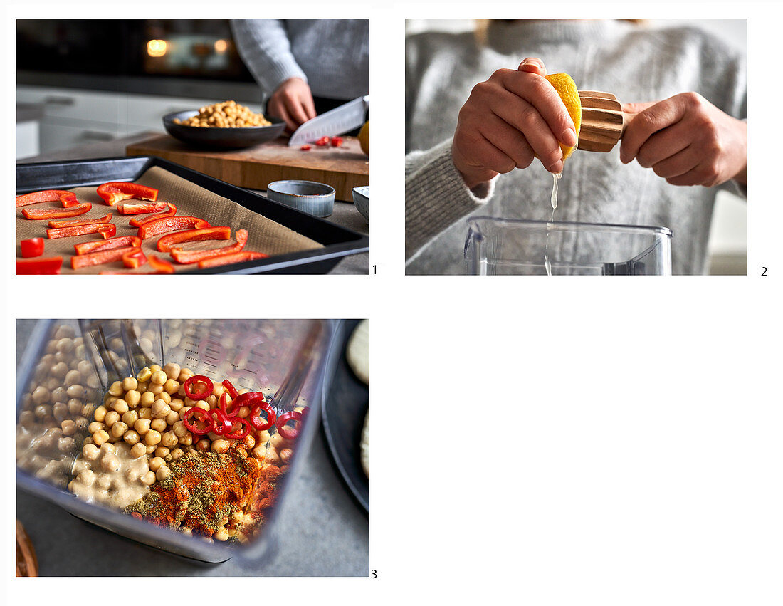 Preparing bell pepper and chili hummus