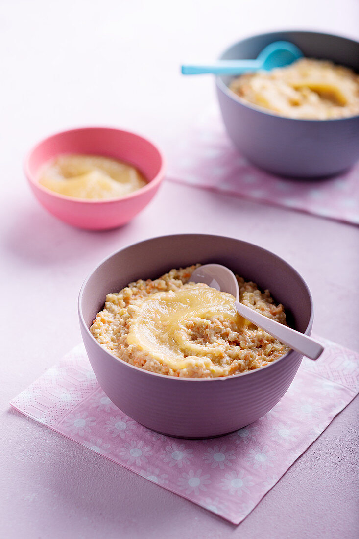 Apple and carrot porridge with nuts
