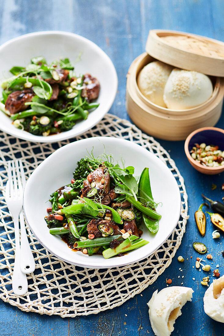 Black bean, lamb and broccoli stir-fry