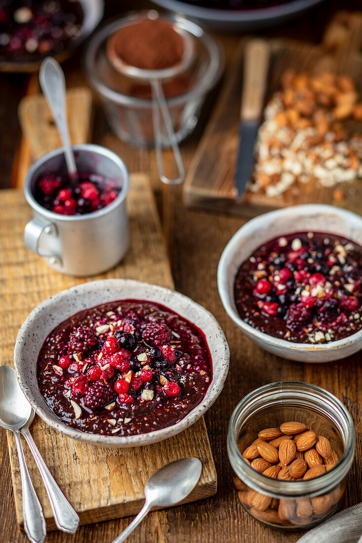 Millet and chocolate pudding with berries