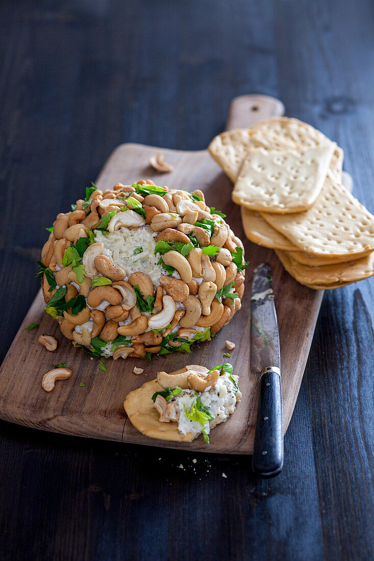 Gorgonzola cheese ball with celery and cashew nuts