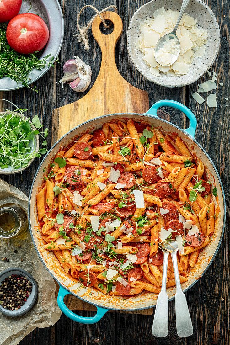 Pasta with chorizo and tomatoes