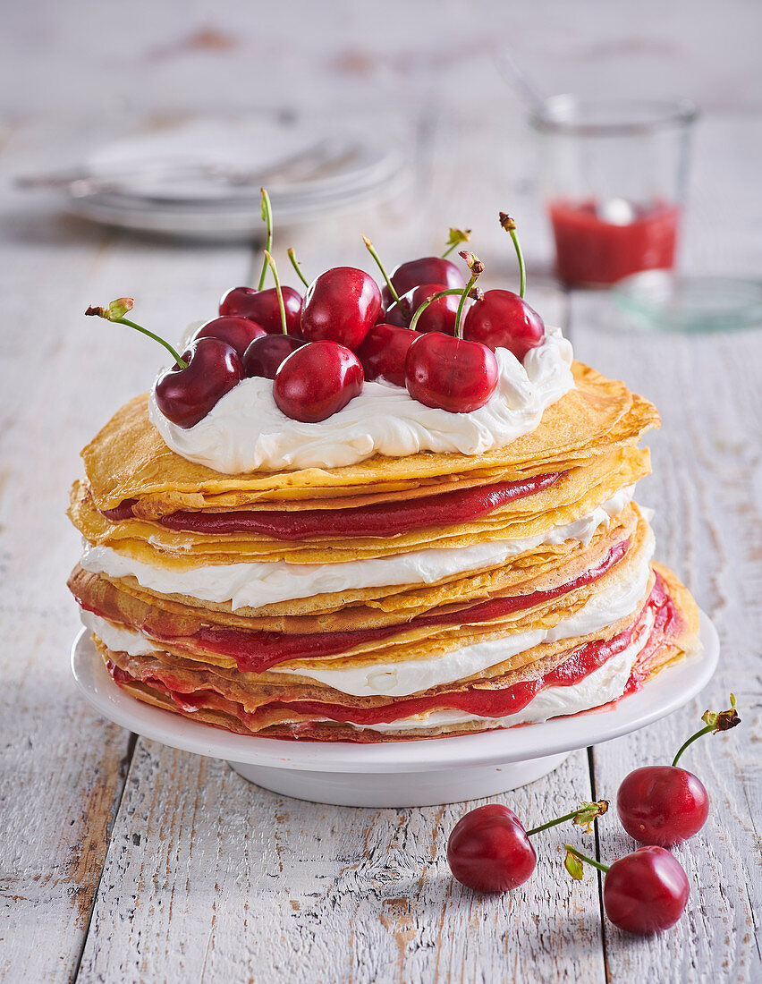 Pancake tart with cherries