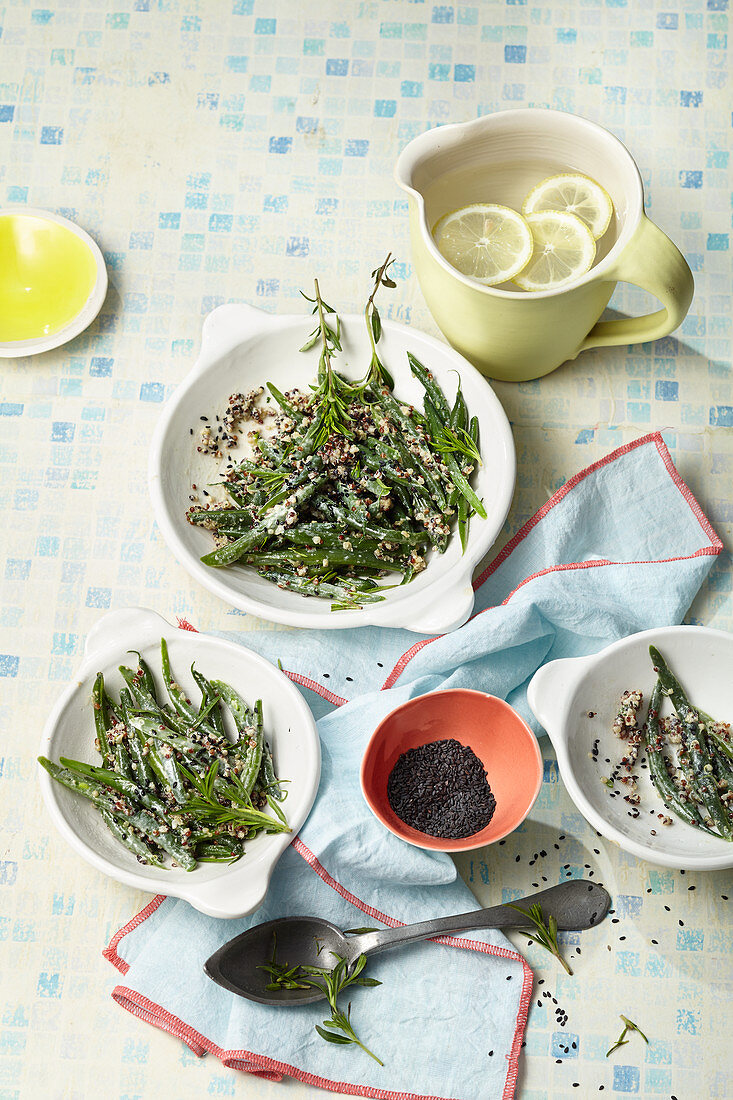 Vegan bean and quinoa salad with sesame dressing