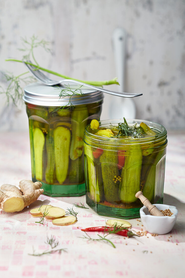 Pickled garden cucumbers with ginger, chilli and dill