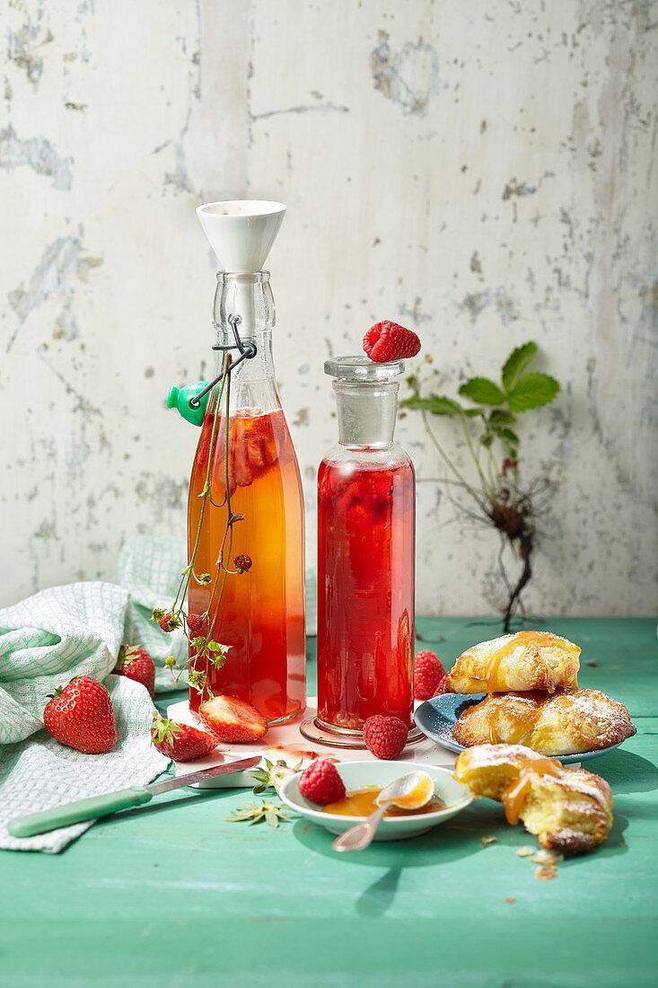 Homemade berry vinegar made from raspberries and strawberries